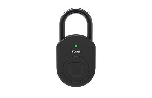 Candado huella dactilar exterior, Cerradura seguridad, Bluetooth, Waterproof IP65, Medida 55mm, Bateria 8 meses, Color Negro