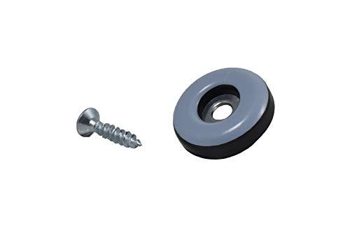 GLEITGUT 24 x Teflongleiter zum Schrauben rund 22 mm PTFE Möbelgleiter 5 mm stark