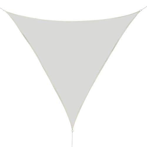 Outsunny Toldo Vela Color Crema sombrilla Parasol triangulo Tela de Poliéster Jardin Playa Camping Sombra Medidas, Medida 3x3x3 Metros, Color Crema