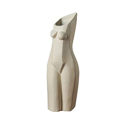 QTQZ Jarrón de Escultura de Figura Femenina Creativa Abstracta nórdica, arreglo de Flores para Sala de Estar Simple, Adornos de decoración artística de Escritorio para el hogar