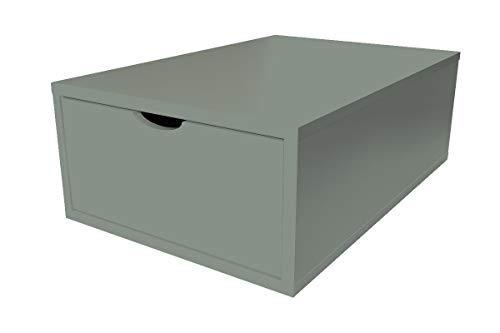ABC MEUBLES - Cube de Rangement 75x50 cm + tiroir Bois - CUBE75T - Gris