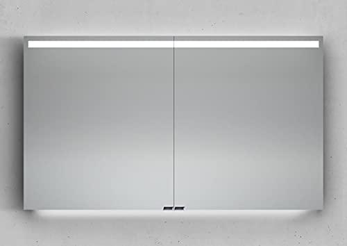 Intarbad ~ Spiegelschrank 120 cm integrierte LED Beleuchtung doppelt verspiegelt Weiß Hochglanz Lack IB5285