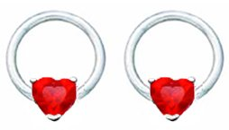 Pair of Ruby Red Prong set Heart Surgical Steel Captive bead Ring lip, belly, nipple, cartilage, tragus, earring body Jewelry piercing hoop - 14 gauge, 3/8' (10mm) 14g