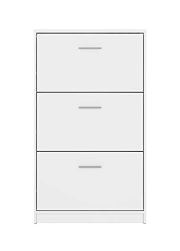 BOARDD - Zapatero para pasillo y zapatero con puerta abatible, color blanco mate, 70 x 120,5 x 17,5 cm