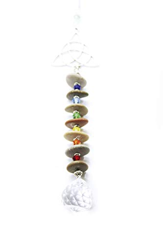 Colgante móvil celta, símbolo de triqueta, 7 chakras, esfera de cristal facetada, Feng Shui, decoración de ventanas, energía positiva, luz arco iris, armonizador del espacio
