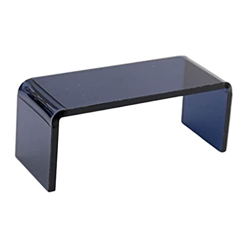 sharprepublic Mesa de Centro de té 1:12 Escala acrílico Transparente Miniatura diseño Moderno Modelo muñeca Accesorio Dormitorio Adorno decoración Escena de Vida - Negro