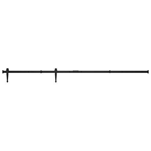vidaXL Kit Mini Puerta Corredera para Armario Herrajes Riel Deslizante Rodillo Percha Almacén Estudio Cocina Hogar Bricolaje Acero Carbono 200 cm