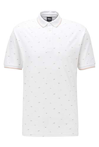 Photo of BOSS Mens Pejack Regular-fit Polo Shirt with All-Over Print White