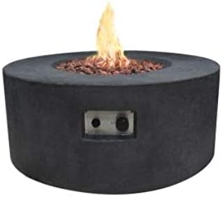 Modeno Outdoor Venice Fire Pit Table Grey Durable Round Fire Bowl Glass Fiber Reinforced Concrete Natural Gas Patio Fire Place 34 Inches Electronic Ignition Cover and Lava Rock Included