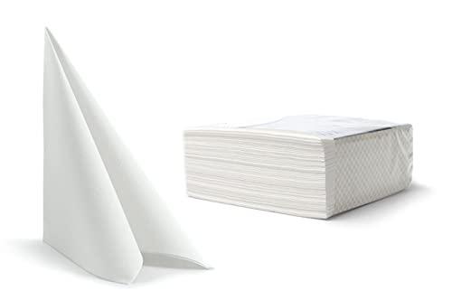 100 toallas desechables para invitados de lino, servilletas, papel de mano, para bodas, restaurante, cocina, fiestas, 40 cm x 40 cm, paquete de 100 unidades (blanco)