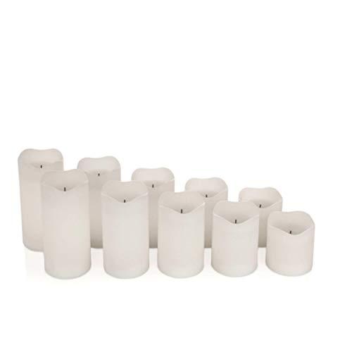 10 LED Echtwachskerzen mit Docht - Stumpenkerzen, Kerzen aus Echtwachs im Set mit Fernbedienung und Timer (Weiß)