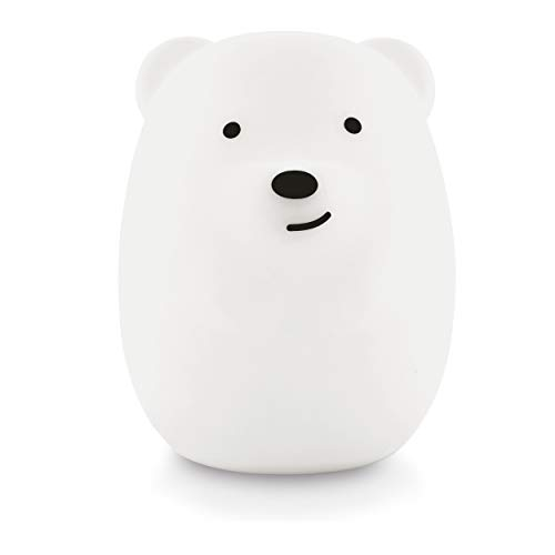 LumiPet Bear Kids Night Light, Huggable Nursery Light for Baby and Toddler, Silicone LED Lamp, USB Rechargeable Battery, 9 Available Colors