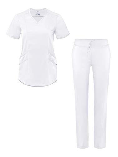 Adar Pro Uniforme médico para Mujer Casaca con Cuello en V y Pantalones de Yoga - P9100 - White - M