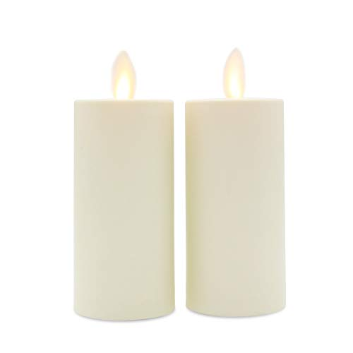 Set of 2 Luminara Votive Flameless Candles: 1.75'x3' Ivory Unscented Moving Flame Candles with Timer