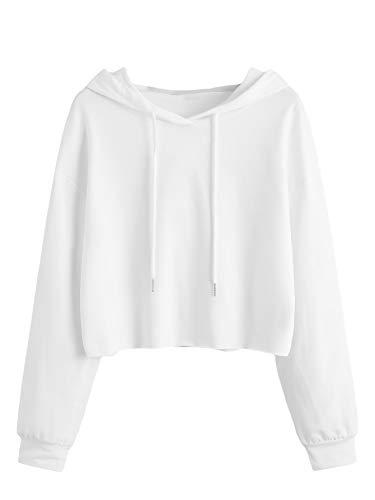 DIDK Damen Kapuzenpullover Langarm Kurz Sweatshirt Crop Oberteile Hoodie Kapuzensweatshirt mit Kapuze Bauchfrei Pullover Langarmshirt Cropped Pulli Weiß#2 XS