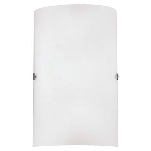 EGLO Wandlampe Troy 3, 1 flammige Wandleuchte, Material: Stahl, Farbe: nickel matt, Glas: satiniert weiß, Fassung: E14