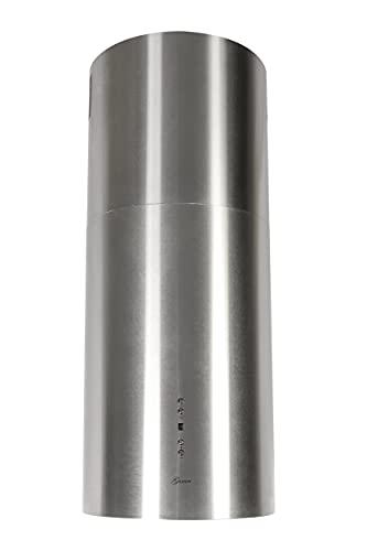 GURARI Inselhaube GCH I 385 36 IS Prime, Runde Insel Dunstabzugshaube 36 cm, Edelstahl, Deckenhaube, 1000m³/h, Unterseite aus Weißglas, 4 Stufen,Display, LED Beleuchtung,Randabsaugung