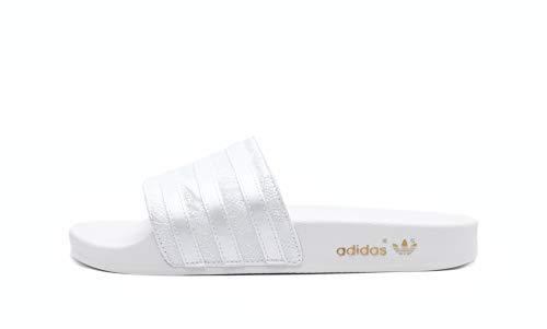 adidas Damen Adilette Slide Sandal, Weiß (Footwear White/Footwear White/Gold Metallic) 40 1/2 EU