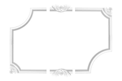 Wand- und Deckenumrandung | 4 Ecksegmente | Barock | Deko Rahmen | Styropor | EPS | innen | Bordüre | 220 x 220 mm | NE-27-01