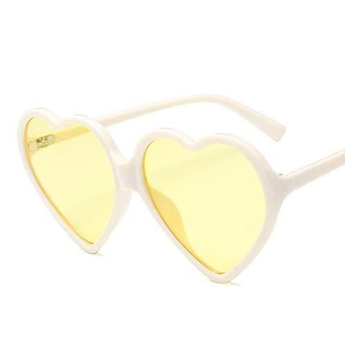 DLSM Gafas de Sol de corazón Mujeres de Gran tamaño para Mujeres Retro Gafas de Sol para Mujeres adecuadas para Deportes al Aire Libre y Senderismo-Amarillo Beige