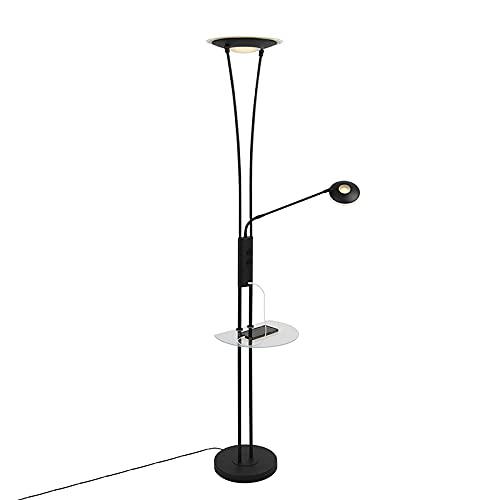 QAZQA Lampada da terra con braccioo de lettura sevilla - Moderno - Acciaio,Vetro - Nero - Oblungo (LED) LED Max. 1 x 20 Watt