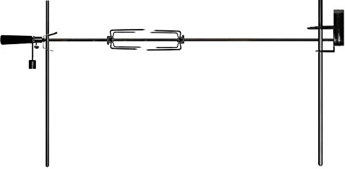 OneGrill Cordless Dual Post Open Fire Rotisserie System- 53 Inch Chrome (Chrome Motor)