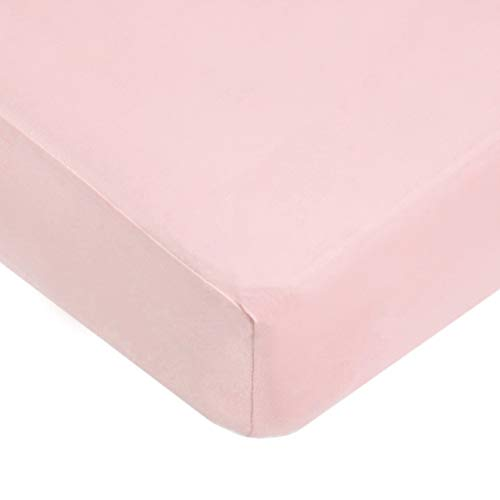 American Baby Company Supreme 100% Natural Cotton Jersey Knit Fitted Crib Sheet for Standard Crib and Toddler Mattresses, Pink, Soft Breathable, for Girls