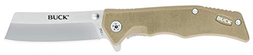 Buck Knives 252 Trunk Folding Liner Lock Pocket Knife Cleaver Blade (Tan)
