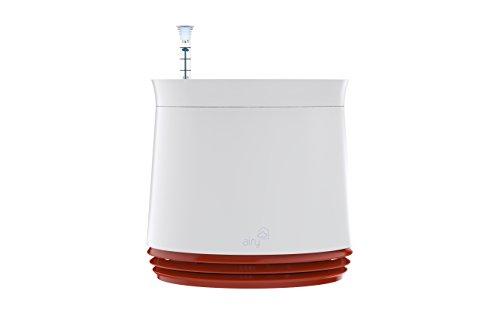 AIRY Pot - Luftreiniger Blumentopf für saubere Raumluft. Patentierter Pflanzen-Topf als natürlicher Raumluftfilter, ohne Strom u. Chemie (Weiß - Rot)