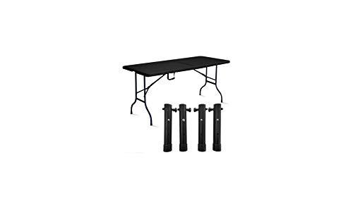 Rekkem Table Pliante Noire avec 4 réhausses