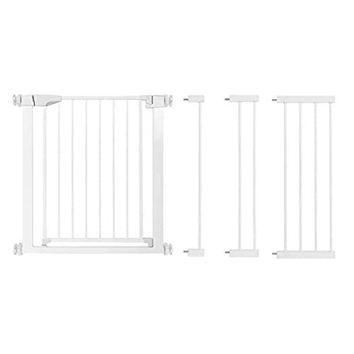 LSZHAO Barrera de Seguridad para Escaleras Puerta para Niños de Fácil Instalación, Valla Protectora de Metal Plegable para Niños y Mascotas Incluidos Kits de Extensión(Color:Blanco)