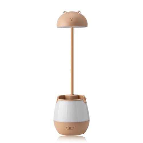 CHENXTT Lámpara de escritorio LED con protección ocular para niños, carga USB, soporte para bolígrafos, lámpara de escritorio, soporte para teléfono móvil, color marrón, 4,1 x 14,2 pulgadas