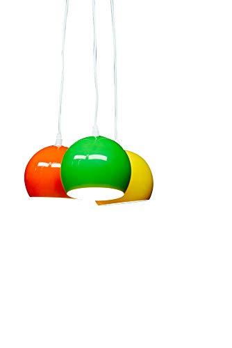 anTes interieur Hängeleuchte Balls grün, gelb, orange mit 3 x LED-Leuchtmittel (bunt Mehrflammig Pendelleuchte Hängelampe Deckenlampe Pendellampe Deckenleuchte)