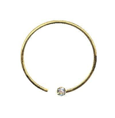Ringe Piercing de oro auténtico 750 para el cuerpo, la nariz, anillo para la nariz, oro 750 y diamante auténtico, tamaño: 0,6 x 8 x 1,4 mm, íntimo, tragus, hélix, septum, moderno, extravagante
