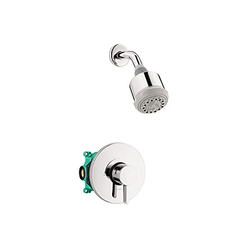 hansgrohe Clubmaster Complete Shower System Shower Set Modern 3-Spray Full, Pulsating Massage, Intense Turbo in Chrome, Rough and Shower Valve Included 2.5 GPM, 04907000