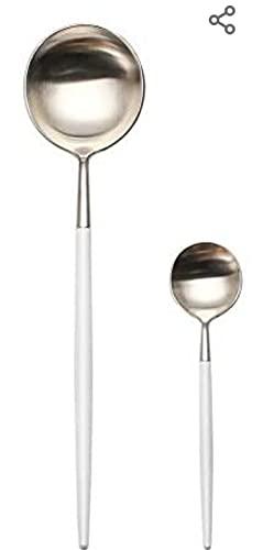 Conjuntos de cubiertos MORGIANA de 8 piezas, juegos de cubiertos de acero inoxidable 18/10 Juego de vajilla con acabado en espejo de oro rosa que incluye un cuchillo de cena Tenedor Cuchara (Oro rosa)