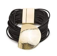 LUXENTER Pulsera Cuero Negro y Metal Dorado. GGBY00238000