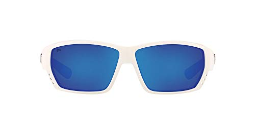 Costa Del Mar Men's Tuna Alley 580G Sunglasses, White/Grey Blue Mirrored Polarized-580G, 62 mm