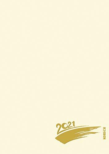 Foto-Malen-Basteln A4 chamois mit Folienprägung 2021: Fotokalender zum Selbstgestalten. Do-it-yourself Kalender mit festem Fotokarton. Edle Folienprägung.