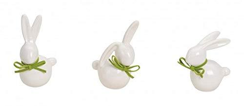 MC Trend Set di 3 Conigli Bianchi da Porcellana Nobile Decorazione Pasqua Decorazione Pasqua Nido Decorazione Decorazione Regalo Idea (Set di 3 Conigli Bianchi Piccolo)