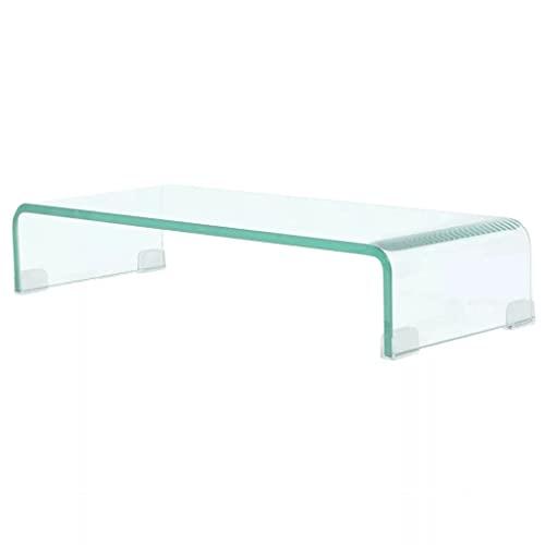 vidaXL TV-Tisch Aufsatz Monitor Erhöhung Glasbühne Podest Transparent 60x25x11cm