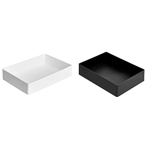 Amazon Basics Kunststoff-Organizer, Zubehörablage, Weiß & -Organizer, Zubehörablage, Schwarz