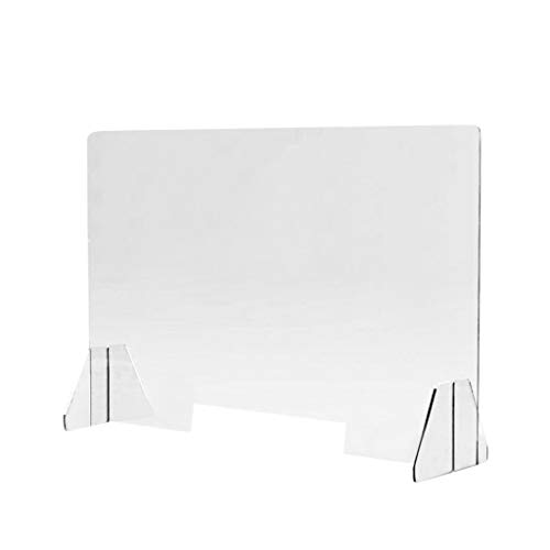 Sneeze Guard Shield for Counter, Acrylic Portable Plastic Sneeze Guard Protective Barrier, Clear Desk Panel Barrier for Office Safety, Employees, Workers, Customers, 11.81' x 15.7' (Clear)