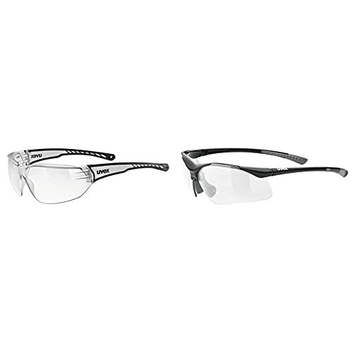 Uvex Unisex– Erwachsene, sportstyle 204 Sportbrille, clear/clear, one size & Unisex– Erwachsene, sportstyle 223 Sportbrille, black grey/clear, one size