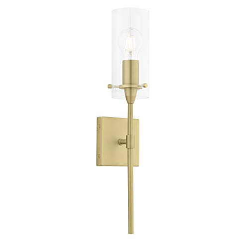 Effimero Gold Wall Sconce Lighting - Bathroom Light Fixture - Modern Indoor Bedroom Wall Lights with Clear Glass Shades
