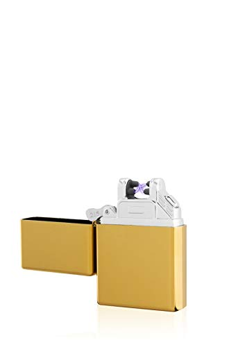TESLA Lighter TESLA Lighter T03 Lichtbogen-Feuerzeug, elektronisches USB Feuerzeug, Double-Arc Lighter, wiederaufladbar, Gold Gold