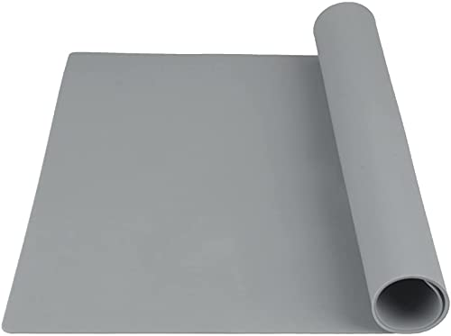 Large Silicone Baking Mat,Non Stick Silicone Baking Sheet ,Pastry Mat,Waterproof Table Mats Placemats Counter Mat for Rolling Dough,23.6'x 15.7' (Gray)