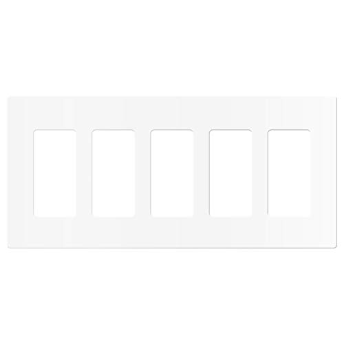 "ENERLITES - SI8835-W-STICKER Screwless Decorator Wall Plates Child Safe Outlet Covers, Size 5-Gang 4.68' H x 10.14"" L, Unbreakable Polycarbonate Thermoplastic, SI8835-W, Glossy, White"