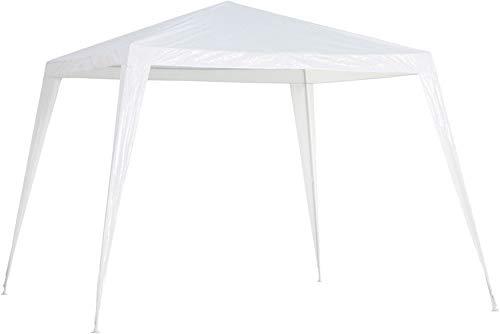 2.4m x 2.4m White Outdoor Garden Gazebo Party Tent, Waterproof & Anti-UV Heavy Duty Marquee Sun Shade Powder Coated Steel Frame and Easy to Install