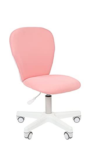 CHAIRJet Silla de escritorio infantil con ruedas, altura regulable, 60 kg, reposabrazos, silla giratoria juvenil con práctico acolchado, 105 (rosa, sin reposabrazos)